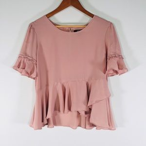 Pink Blush Ruffle Asymmetrical Blouse | L